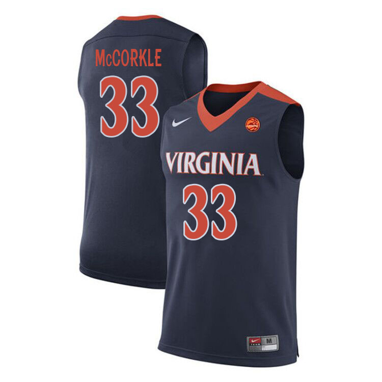 Men #33 Carson McCorkle Virginia Cavaliers College Basketball Jerseys Sale-Navy