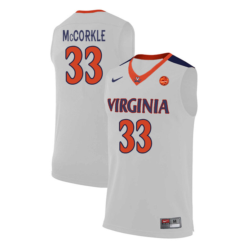 Men #33 Carson McCorkle Virginia Cavaliers College Basketball Jerseys Sale-White