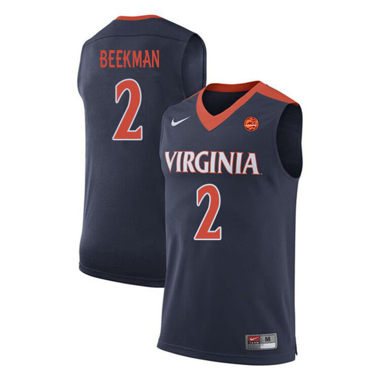 Men #2 Reece Beekman Virginia Cavaliers College Basketball Jerseys Sale-Navy