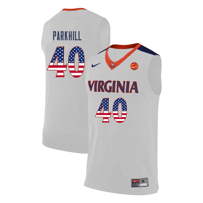 Men Virginia Cavaliers #40 Barry Parkhill College Basketball USA Flag Fashion Jerseys-White