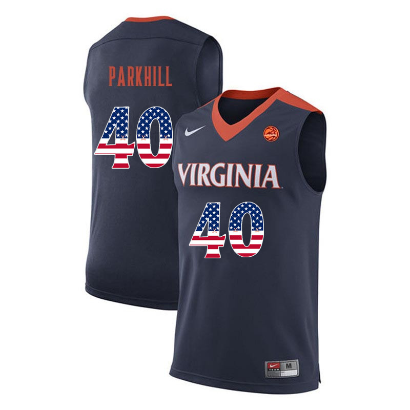 Men Virginia Cavaliers #40 Barry Parkhill College Basketball USA Flag Fashion Jerseys-Navy