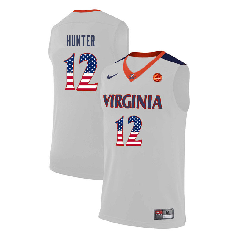 Men Virginia Cavaliers #12 De'Andre Hunter College Basketball USA Flag Fashion Jerseys-White