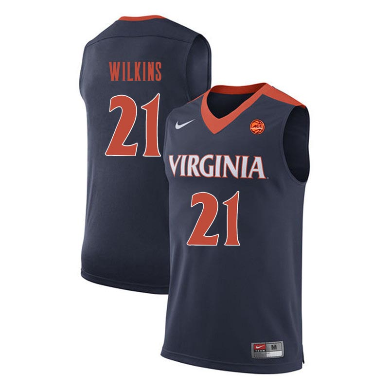 Men Virginia Cavaliers #21 Isaiah Wilkins College Basketball Jerseys-Navy