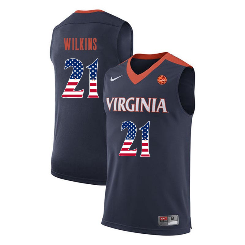 Men Virginia Cavaliers #21 Isaiah Wilkins College Basketball USA Flag Fashion Jerseys-Navy