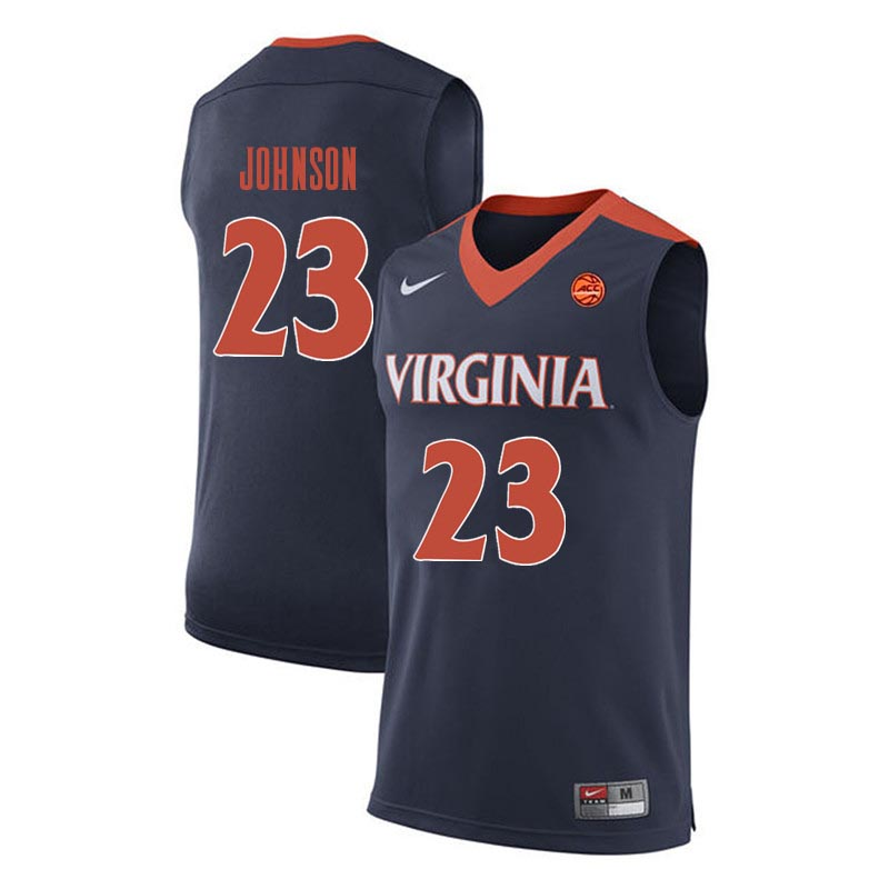 Men Virginia Cavaliers #23 Nigel Johnson College Basketball Jerseys-Navy