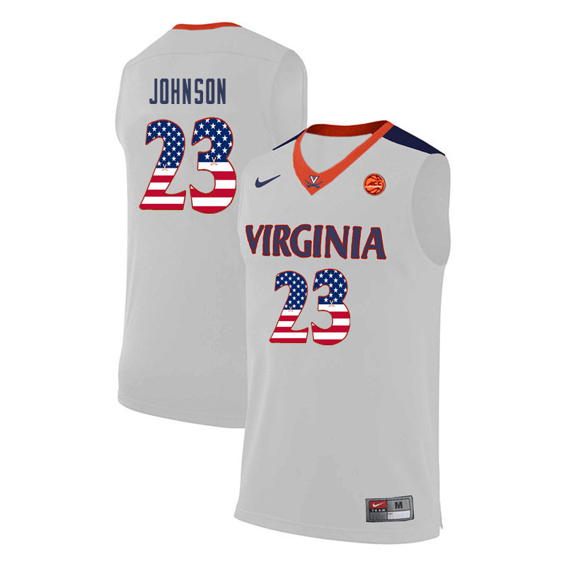 Men Virginia Cavaliers #23 Nigel Johnson College Basketball USA Flag Fashion Jerseys-White