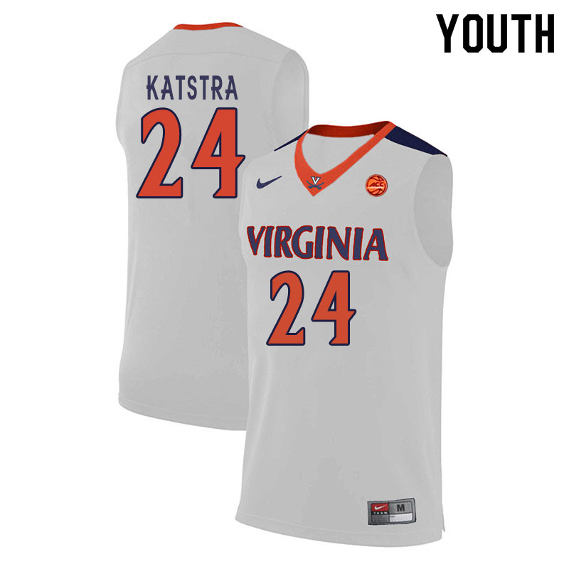 Youth #24 Austin Katstra Virginia Cavaliers College Basketball Jerseys Sale-White