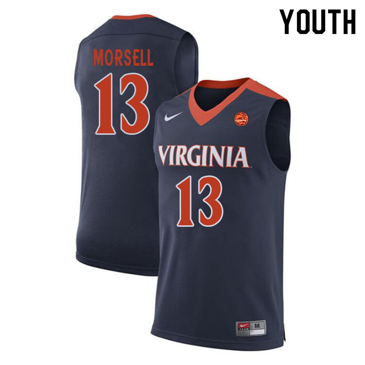Youth #13 Casey Morsell Virginia Cavaliers College Basketball Jerseys Sale-Navy