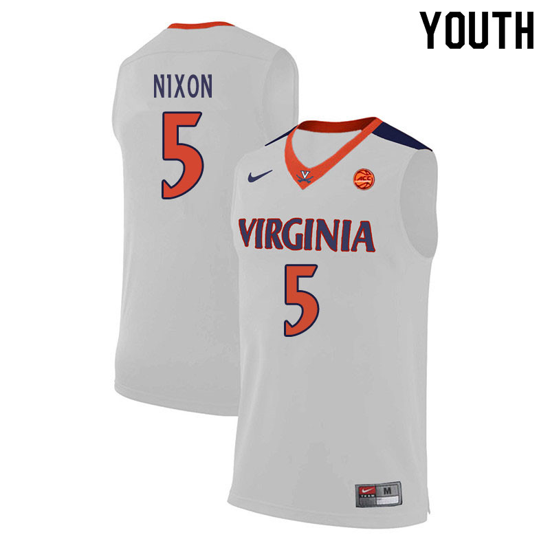 Youth #5 Jayden Nixon Virginia Cavaliers College Basketball Jerseys Sale-White