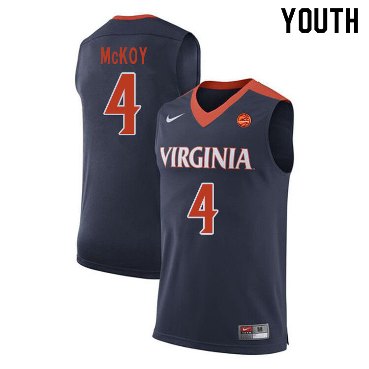 Youth #4 Justin McKoy Virginia Cavaliers College Basketball Jerseys Sale-Navy