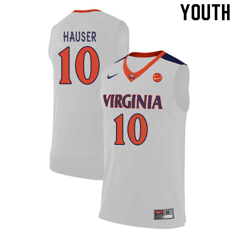 Youth #10 Sam Hauser Virginia Cavaliers College Basketball Jerseys Sale-White