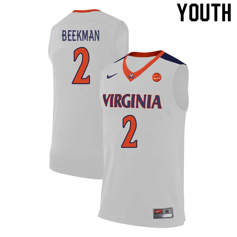 Youth #2 Reece Beekman Virginia Cavaliers College Basketball Jerseys Sale-White
